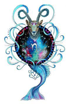 Signo del zodiaco  Capricornio  firmado Art Print por PixieColdArt