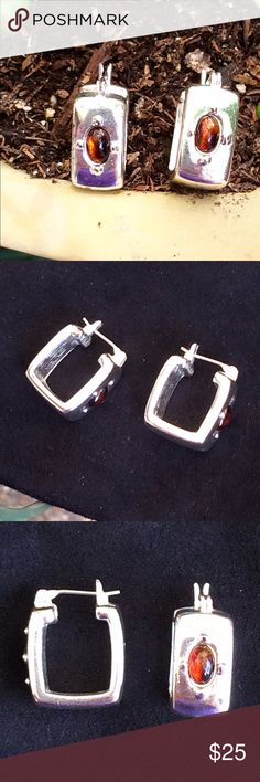 Square silver huggies! Cute earrings with a faux tortoise shell stone on the front. Very chic on!! Jewelry Earrings