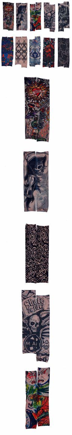 New Mixed 100%Nylon Elastic Fake Temporary Tattoo Sleeve Designs Body Arm  Warmer Stockings Tatoo for Cool Men Women 2PCs