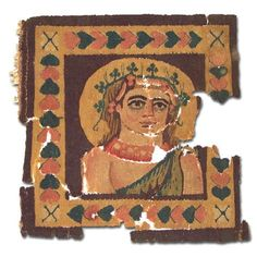 Coptic Textile, Portrait of Dionysus. 5th Century. Egypt. Dionysus is the god of the grape harvest, winemaking and wine, of ritual madness, fertility, theatre and religious ecstasy in ancient Greek religion and myth. Artist Unknown.
