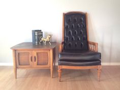 vintage tufted high back chair. mid century furniture. retro home decor. | ReRunRoom |