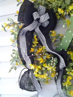 Summer Wreath with Monogram by PriddyStuff on Etsy, $95.00