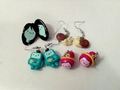 Adventure Time BMO, Marceline, Princess Bubblegum with bun & snail earrings