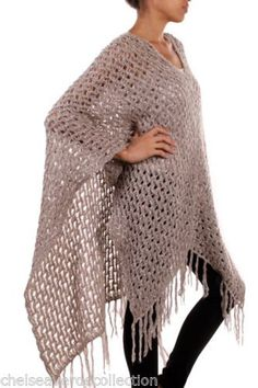 CHELSEA VERDE Cappuccino/Taupe Puppy-Soft Fringed Slouchy Poncho/Sweater 259 - 11 Main