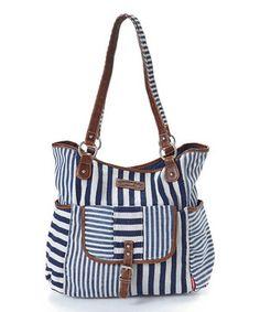 Love this Blue & White Stripe Tote by UNIONBAY on #zulily! #zulilyfinds