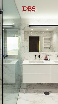 This modern bathroom uses the space well with a large walk-in shower. The marble used over the floor and walls creates a clean and polished look, and is offset by the black accents on the taps. Bathroom Trends, Budget Bathroom, Bathroom Renovations, Bathroom Ideas, Bathroom Wall Panels, Bathroom Cladding, Bathroom Fixtures, Marble Bathrooms, Small Bathrooms