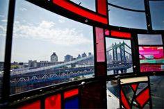 """Brooklyn-based artist Tom Fruin installed a beautiful steel and plexiglas water tower in Brooklyn's DUMBO neighborhood. """