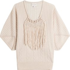 Claudia Schiffer Wool Pullover (750 BRL) ❤ liked on Polyvore featuring tops, sweaters, beige, cream sweater, pink top, cream fringe sweater, boxy sweater and cream pullover sweater