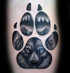 Blue Eyed Wolf Paw Mens Arm Tattoo Designs