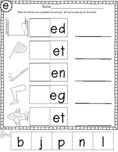 Short E CVC Words [Freebie!] - Littlest Scholars - TeachersPayTeachers.com