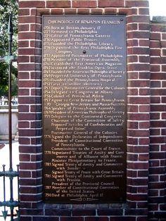Plaque at Benjamin Franklin's grave site. Benjamin Franklin