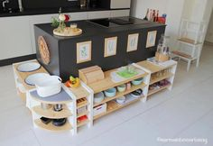 Our DIY Montessori children's kitchen - part shelves, work area and sink ⋆ . Our DIY Montessori Ikea Montessori, Montessori Toddler, Montessori Materials, Parents Room, Kids Room, Childrens Kitchens, Interior Room Decoration, Tiny Living Rooms, Small Kitchen Organization