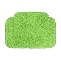 Somette Quincy Super Shaggy Lime Green 2-piece Bath Rug Set