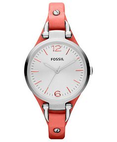 Fossil Watch, Women's Georgia Coral Leather Strap Macy's - comes in other colors too.