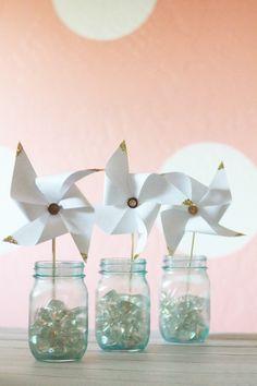 pretty glittery gold tipped pinwheels. Cute DIY home decor or gift idea.
