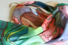 Hand painted silk scarf one of a kind multicolor by SilkHome, $75.00