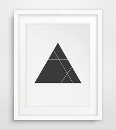 Minimalist Triangle Print Black and White by MelindaWoodDesigns.