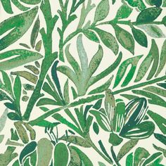 Buy Wallace Secret Garden Wallpaper from the Secret Garden Wallpaper Collection by Liberty Art Fabrics, with a design of intertwining leaves and floral branches in shades of grass green.