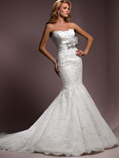 Wedding Dresses Pictures - Mermaid / Trumpet Tight Strapless Sweetheart Scalloped-Edge Satin Organza Wedding Dress - Style WD5811