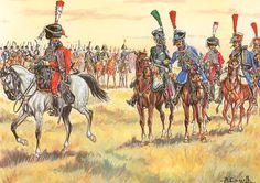 """Westphalian Hussars, the green of the 1st and the blue of the 2nd with a trumpeter of the Elite Company of each regiment"""", by Patrice Courcelle."""