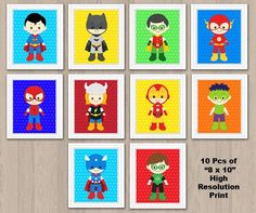 Superhelden-Wall-Print Superhero Wand Kunst Superhero von KidzParty