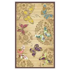 Bamboo floor mat with a medallion and butterflies motif.  Product: Floor matConstruction Material: Bamboo