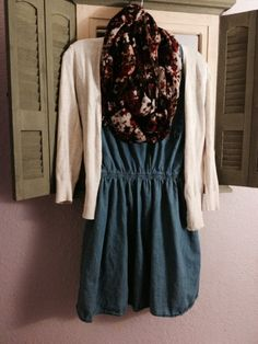 Jean dress Outfit idea Floral scarf