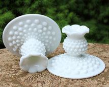 Fenton Milk Glass Candlesticks. Set of Two Hobnail Candlestics.