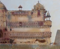 'Goats at Jahangiri Mahal. Orchha' pastel.      Felicity House  The Pastel Society Exhibition . Mall Galleries London  9-25 June 2014