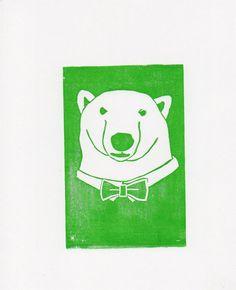 Polar Bear linocut print 8 x 10 by WeThinkSmall on Etsy, $15.00