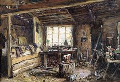 Frank Moss Bennett | The Blacksmith's Shop by Frank Moss Bennett at Bourne Gallery - Stock ...
