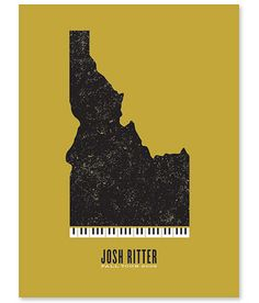 Poster for Josh Ritter by Jason Munn. Two-color silk screen. 18 x 24 inches. From The Small Stakes: Music Posters published by Chronicle Books. The Small Stakes: Music Posters by Miyoko Ohtake. Grain Edit, Typography Poster Design, Design, Gig Posters, Music Poster Design, Image, Music Drawings, Poster, Music Poster