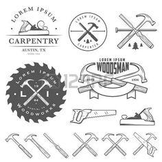 menuisier: Un ensemble d'outils de menuiserie vintage, des étiquettes et des éléments de conception Illustration
