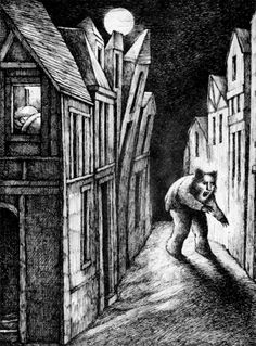"""Arnold Lobel's illustration for the poem """"The Werewolf"""" from  Nightmares: Poems to Trouble your Sleep, by Jack Prelutsky (1976)"""