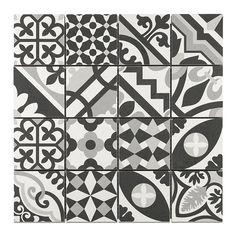 Crédence Mosaïque carreaux de ciment blanc/noir 7 x 7 cm - CASTORAMA