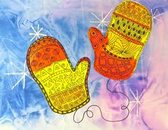Kindergarten has been working on using pattern in an artwork and learning warm and cool colors.  The result?  Warm colored mittens covered in a zentangle-ish pattern and backgrounds painted in cool colors, using plastic wrap to create an icy texture.