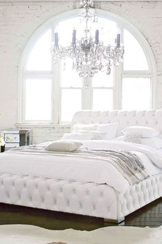 Eclectic Master Bedroom with Hi Groove Perugia Leather Queen Bed Frame, High ceiling, Arched window, Chandelier