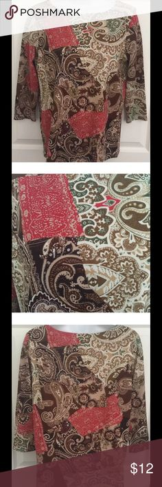 """Pappagallo Womens Top Size Petite Small PS Pappagallo Womens Top Size Petite Small PS 3/4 Sleeves Paisley Floral   Super pretty top in excellent condition Pretty colors  Paisley and floral print 3/4 sleeve Chest:  18"""" across Length: 23"""" from shoulder to bottom of shirt pappagallo Tops"""