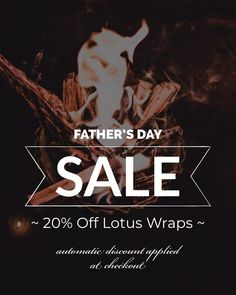 FATHER'S DAY SALE 🙏 Thank your mister with the peace and comfort of a Lotus Wrap this Fathers Day. Save 20% until Saturday June 20. Discount applied automatically at check out. No promo code needed. ♥️ Fathers Day Sale, Lotus, June, How To Apply, Coding, Peace, Check, Lotus Flower, Sobriety