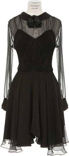 Saint Laurent Black Long Sleeves Semitransparent Silk and Knitted Silk Dress