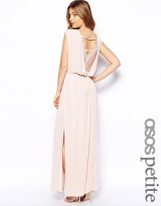 ASOS PETITE Exclusive Lace Back Wrap Front Maxi Dress