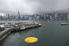 Hong Kong: the 16.5-meter (54 feet) inflatable duck created by the artist Florentijn Hofman deflated and bobbed lifelessly in Victoria Harbour.