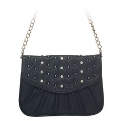"""Rae-Black Grace Adele Clutch    Rae combines a simple shape with tough silver studs — perfect when you want to be elegant with an edge.     Fits inside the exterior pocket on your favorite Grace Adele bag.     • Faux leather  • 9"""" L, 7"""" H  • Detachable chain and 27.25"""" faux leather strap    https://myfashions.graceadele.us/GraceAdele/Buy/ProductDetails/10611"""