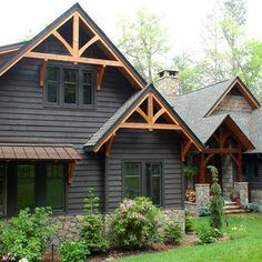 Traditional Exterior + Brown Tones + Painted Siding + Painted Shingles + Cedar Trim Design Ideas, Pictures, Remodel and Decor