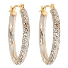 14K Two Tone Diamond Cut Polished Hoops  Select Jewelry™ 14K Two Tone Diamond Cut Polished Hoops       Please report any items that arrive damaged within 72 hours.          UNWORN can be returned within 30 days
