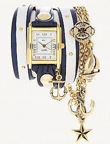 Nautical blue and gold watch and bangles, stacked...love this look!
