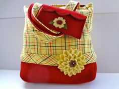 Medium Wool Tote Bag and Appliqued Clutch, Yellow and Red Plaid Vintage Wool by Alfred Woolens