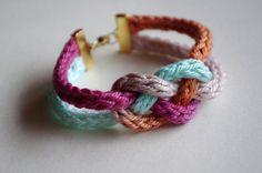 Hand Dyed Crochet Tube Color block Knot Bracelet