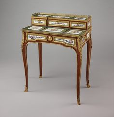 Small writing desk (bonheur-du-jour) c. 1758 Maker: Martin Carlin (French, near Freiburg im Breisgau c.1730–1785 Paris) Decorator: Denis Levé (active 1754–93, 1795–1805) (82.5 x 65.7 x 40.6 cm) Gift of Samuel H. Kress Foundation, 1958 Accession Nº: 58.75.48French Louis XV Style More Pins Like This At FOSTERGINGER @ Pinterest