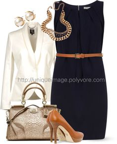 """Navy Belted Dress"" by uniqueimage ❤ liked on Polyvore"
